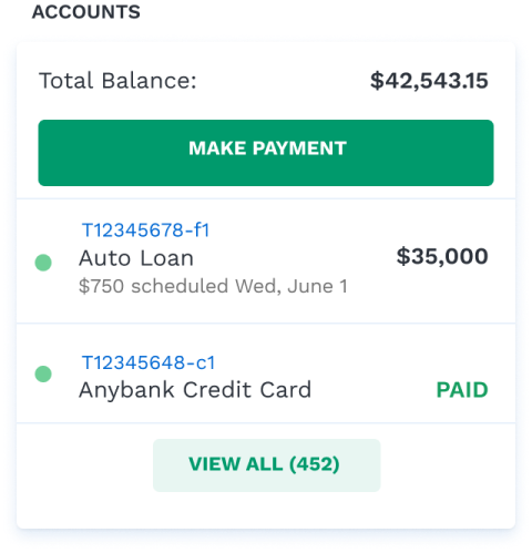 Example screenshot of payment dashboard with custom linked accounts in PayWeb360