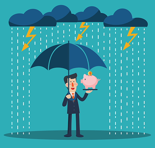 Smiling business man standing with umbrella under thunderstorm protecting piggy bank